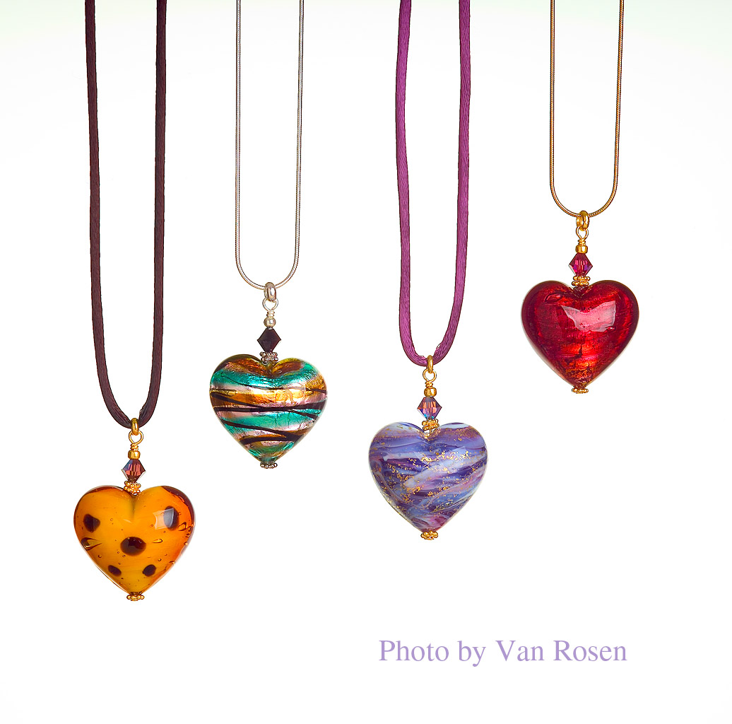 Jewelry Photography of Heart Beads