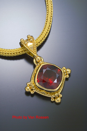 Classic Jewelry Photograghy of Red Stone Pendant